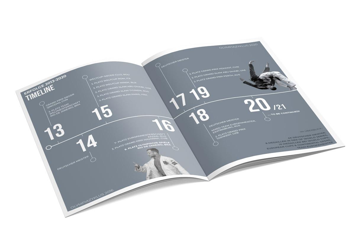 Abgebildet ist ein aufgeschlagenes Heft welches eine Timeline darstellt. Dient als Inspiration für eine persönliche Marke im Bereich Sport. In diesem Fall Judo.