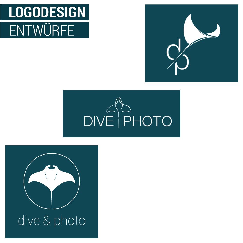 Auf dem Bild sind 3 Logoentwürfe zur Firma Dive&Photo zu sehen.