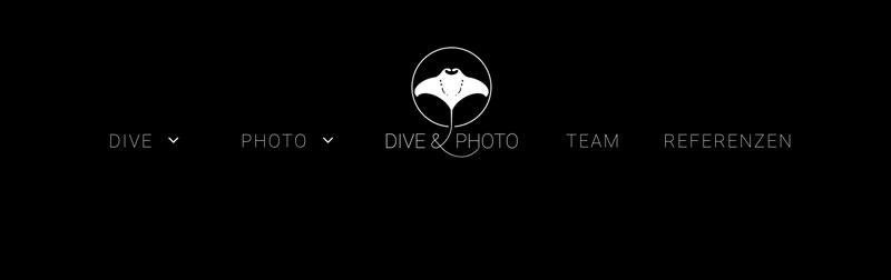 Das Logo von Dive&Photo in der Navigation der Webseite eingebaut, als Beispiel.