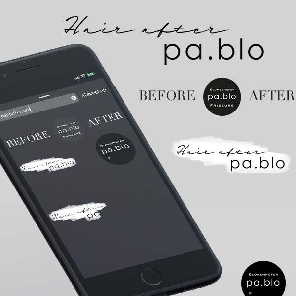 Auf dem Bild ist ein Smartphone zu sehen, welches eine Instagram Story mit einem GIF des Unternehmens PABLO Friseure zeigt.
